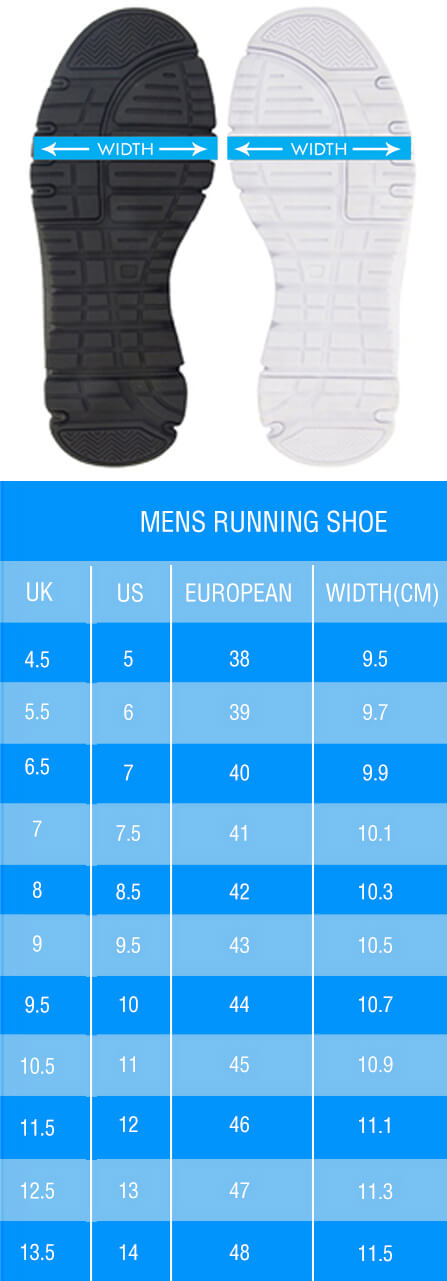 Sneakers Sizing Chart for Men - WIDTH
