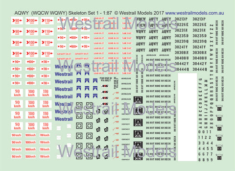 Set of 3 AQWY/WQCW/WQCY Container Flat Car Decals - Water Slide Transfers - Set 1 - HO scale