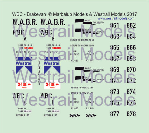 WBC Brakevan - Decal Water Slide Transfers - HO Scale