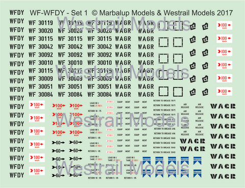 Set of 5 WF-WFDY -Decal Water Slide Transfers - (Set 1) - HO scale