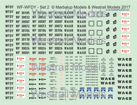 Set of 5 WF-WFDY -Decal Water Slide Transfers - (Set 2) - HO scale