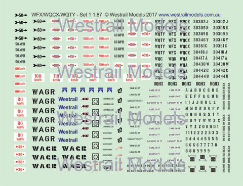Set of 3 WFX/WQCX/WQTY Container Flat Car Decals - Water Slide Transfers - Set 1 - HO scale - (Also WQC/WQO/WQA/RQHX)