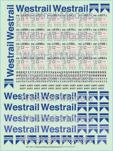 WW Wheat Hopper Wagon Decals with Westrail Logo Set 3 - HO Scale