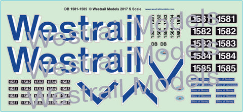 DB Locomotive Decals, Large Westrail - Water Slide Transfers - S Scale