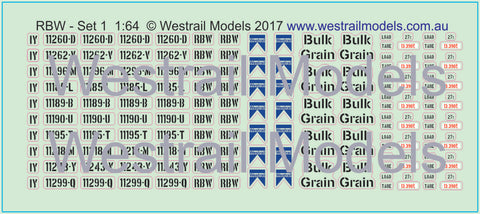 RBW Wagon - Decal Water Slide Transfers - (Set 1) - S scale
