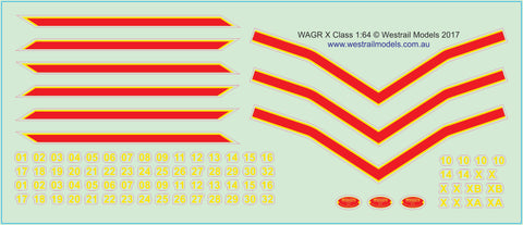 X Class Locomotive WAGR Green Livery Decals - Water Slide Transfers - S Scale