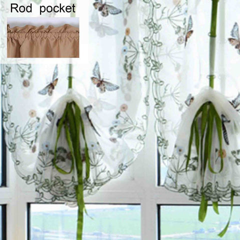 1 PC Pastoral Tulle Window Roman Curtain Embroidered Sheer Curtain Screening Butterfly-curtain-StyloMylo World