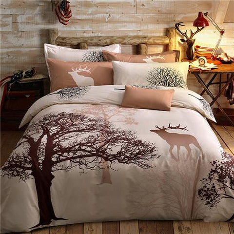100% Cotton Bedding Set Deeru0026Tree Printing Queen Size Bed Linen Bed Clothes Bed  Sheet Duvet Cover Set