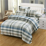 100% Cotton Grey color Stripe Plaid Bedding Set twin full King Queen single Size soft Bed set Bed sheet Duvet Cover Pillowcases-Beddings-StyloMylo World