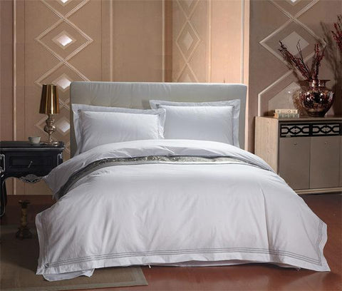 100% Cotton White Color Hotel Bedding sets King Queen size Bed set Duvet cover set Bedsheet Wholesale-bedsheets-StyloMylo World