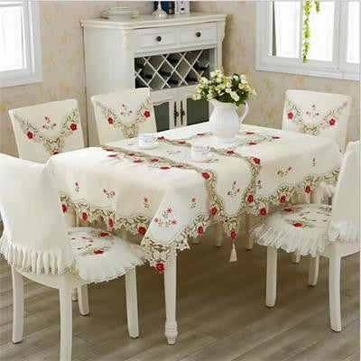 100%Polyester European Luxury Tablecloth with Lace Edge Square Table-Table Cloths-StyloMylo World