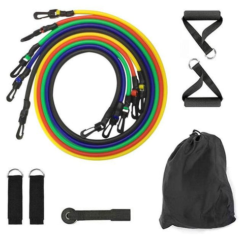 11 pcs Yoga Band Tube Resistance Bands Set Fitness Elastic Rubber Band Training Workout Expander Pull Rope Gym Fitness Equipment