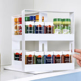 2 Layer Rotating Kitchen Spices Jar Bottle Storage Rack Kitchen Bottle Storage Organizer Decorative Shelves Slide Cabinet