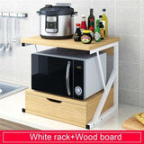 2-Tiers Kitchen Microwave Oven Rack With Drawer Home Storage Shelf Rack Kitchen Counter Shelf Organizer Tableware Space Saver
