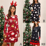 2019 L-3XL Plus Size Christmas Dress Long Sleeve Christmas Cartoon Print Loose Casual Dress Autumn Women Party Dress