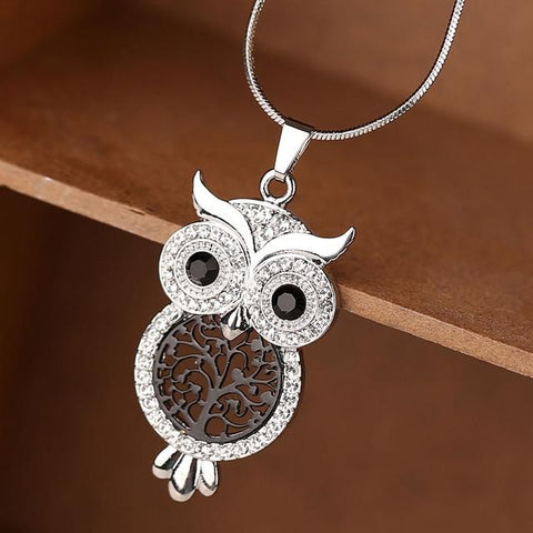 2019 New Crystal Owl Pendants Necklace For Women Gold Sliver Color Snake Chain Necklaces Fashion Jewelry Christmas Gift Dropship
