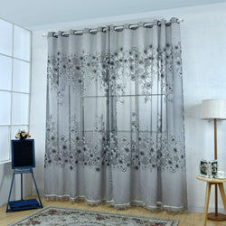 2020 1Pcs 100*250 Brand Hot Flowers Print Sheer Curtain Bay Window Screening Balcony For Kitchen Living Room Chiffon Curtain