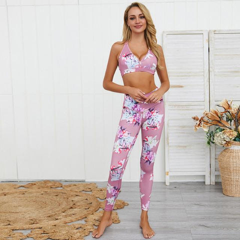 2020 2 PCS Woman Sportswear Yoga Sets Workout Gym Clothes Printed Fitness Sports Top Bra+Leggings Running Tracksuit Suit Female
