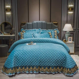 2020 Blue Simple Quilting Bedsheet fleece fabric Stitching Bedlinens Coverlet 3pcs Bedspread Set Pillowcases