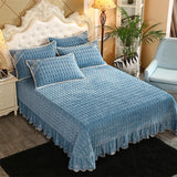 2020 Blue Simple Quilting Bedsheet solid color Stitching Bedlinens Coverlet 3pcs Bedspread Set Pillowcases