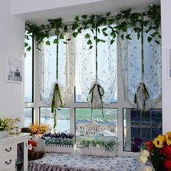 2020 Sheer kitchen door window purple flower curtain patchwork liftering roman blinds Water soluble embroidered curtain 1pc