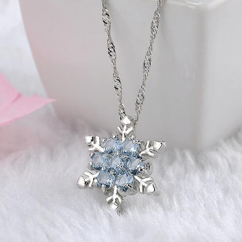 2Pcs Blue Crystal Snowflake Charm Necklaces & Pendants Zircon Flower Silver Plated Jewelry Christmas Gift for Women Wholesales