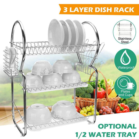 3 Layer Multifunction Tier Stainles Steel Dish Drainer Cutlery Holder Rack Organizer Utensils Drip Tray Kitchen Tool Space Saver