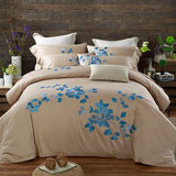 40 Egypt Cotton Coffee Bule Embroidery Luxury Oriental Bedding set King Queen size Bed set  Duvet cover Bedsheet Pillowcases