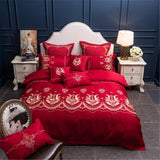 40Embroidery Luxury Bedding set  King Queen size 4/7Pcs White Wedding Bed set Duvet cover Bedsheet decorative pillowcase