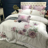 42 White Egyptian Cotton Embroidery Duvet Cover Set 4/7 Pieces Double Queen King Size Bedding Set Bedsheet set Bed set