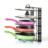5-layers Stainless Steel Pan Organizer Holder Cutting Board Pan Pot Adjustable Shelf Accessories Kitchen Cookware Storage Rack