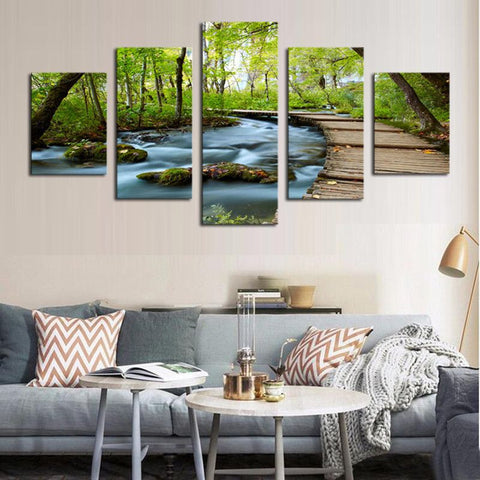 5 Piece Woods and Waterfalls Modern Home Wall Decor Oil Painting ( NO FRAME)-Art-StyloMylo World