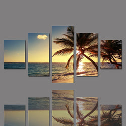 5 Pieces Frameless Canvas Photo Prints Sea Sunset Palm Trees Wall Decorations Wall Art Picture Canvas Wall Paintings-Art-StyloMylo World