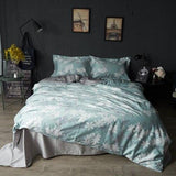 60S Egyptian cotton luxury bedding set 4pcs queen King size cotton silky duvet cover set bedsheet set bedclothes pillowcase 38