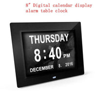 8 LED Large Time Wall Clock With Digital Day Week Month Year Calendar Hot Sale