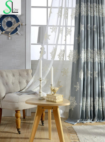 Autumn Winter Edelweiss Embroidered Curtains For Bedroom European And American Style Snowflake Blackout Curtain Cortinas Rideaux-curtain-StyloMylo World