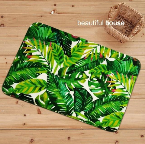 Bath Mat Tropical Tree Printing Suede Non Slip Absorbent Shower Bathroom Mat For Toilet Rugs Kitchen Floor Mat alfombras tapis-floor mats-StyloMylo World
