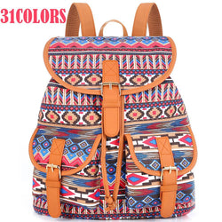 BEAUTIFUL 31 Colors Female Vintage Rucksack Printing Canvas Women Backpack Bohemian Grils School Bag Sac a Dos Drawstring Bag-backpacks-StyloMylo World