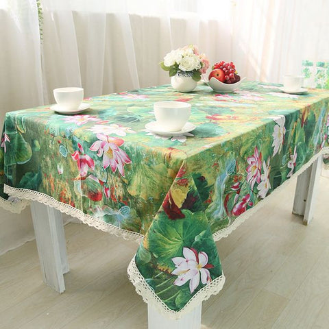 Lotus Cotton Table Cloth Chinese Style Vintage Flower Rectangle Table Cover  Green Tablecloth With Lace Edge