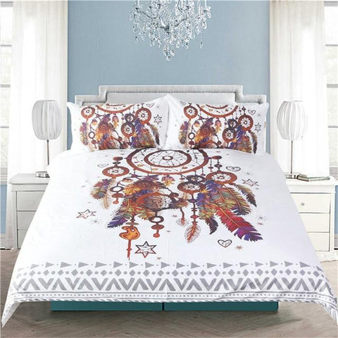 BeddingOutlet Hipster Watercolor Bedding Set Queen Size Dreamcatcher Feathers Duvet Cover Bohemian Printed Bed Cover 3 Pcs