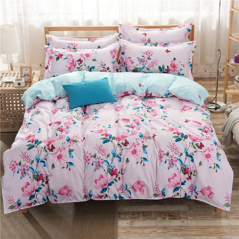 Best buy ! Flower Dream Bedding Sets Duvet Cover Queen Size 1 Duvet Cover 1 Bed Sheet 2 Pillowcases-Beddings-StyloMylo World
