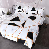 BlessLiving Marble Texture Bedding Set Black White Golden Duvet Cover Set 3-Piece Stylish Bed Cover Nature Inspired Bedclothes