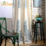 Blue Twin Trees Embroidered Modern Blackout Curtain For Bedroom Living Room Window Sheer Balcony Window Custom Made-curtain-StyloMylo World