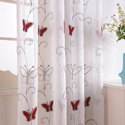 Brand New Top Finel Modern Luxury Embroidered Shaggy Butterfly Sheer Voile Curtains for Living Room Bedroom Kitchen Tulle Window-curtain-StyloMylo World