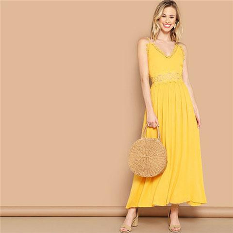 51749194602f0 Bright Yellow Lace Insert Fit And Flare Cami Maxi Dress Women Summer  Sleeveless V Neck High