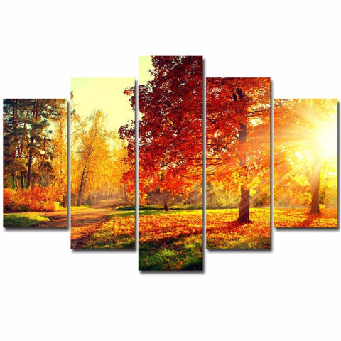 Canvas Painting Modern 5 Pieces/Pcs Sunset Landscape Art Autumn Scenery Live Wall HD Decoration Modular Forest Picture Poster-Art-StyloMylo World