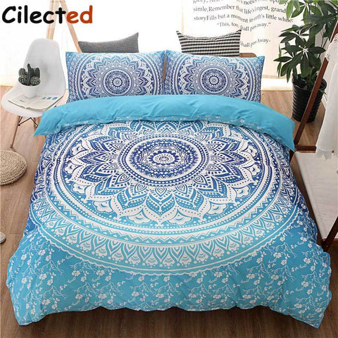 Cilected Bohemian Bedding Sets Mandala Printing Blue White Duvet Cover Set Queen King Size Cotton Bedlinen Bedsheet Pillowcase-Beddings-StyloMylo World