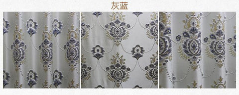 Coffee Yellow Blue Pink Curtain Relief Jacquard Shade Fabric Floral Curtains For Living Room Kitchen Bedroom Rideau-curtain-StyloMylo World
