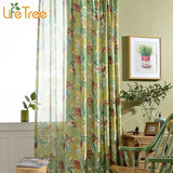 Colorful Leaves Printed Cotton Linen Curtains And Window Tulle For Bedroom Custom Made Size-curtain-StyloMylo World