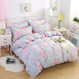 Comwarm 4PCS Beautiful Floral Printing Bedclothes Polyester Cotton King Size Family Bedding Set Bed Linen Duvet Cover Pillowcase-StyloMylo World